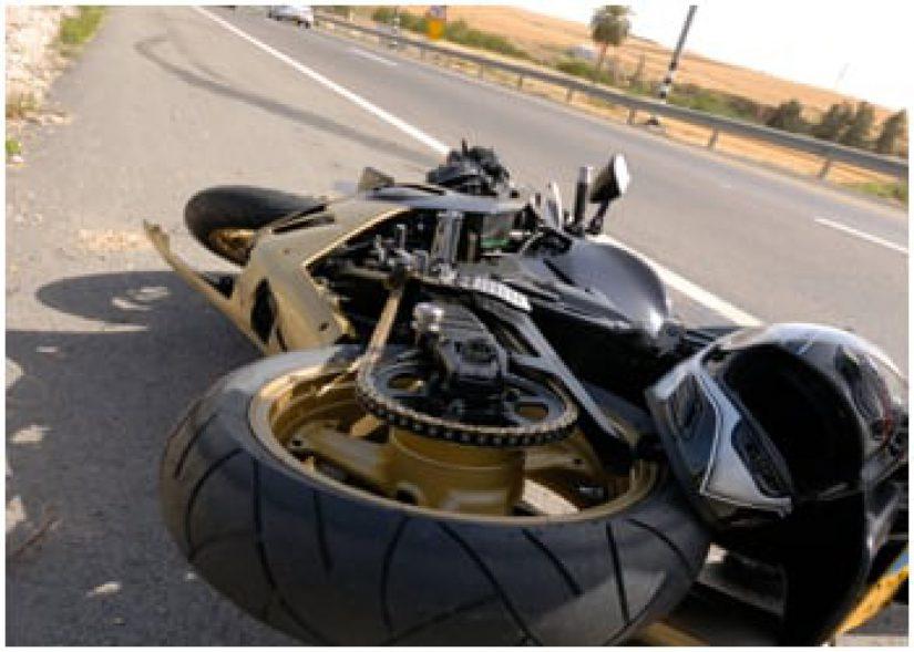 photo of crashed motorcycle