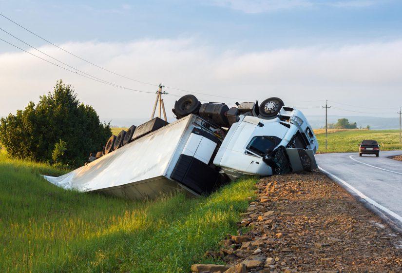 Photo of crashed truck